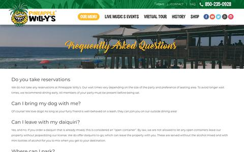 Screenshot of FAQ Page pwillys.com - Frequently Asked Questions | Pineapple Willy's - captured July 4, 2018