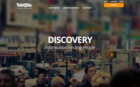 Screenshot of Home Page taboola.com - Taboola | Drive Traffic and Monetize Your Site - captured Sept. 30, 2015