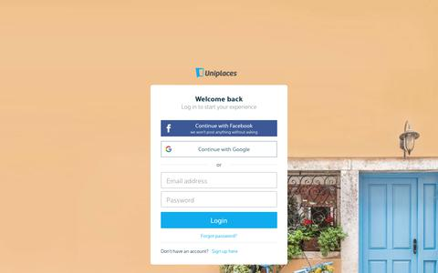 Screenshot of Login Page uniplaces.com - Rooms for rent: Apartments and Student Accommodation - Uniplaces - captured Aug. 21, 2019