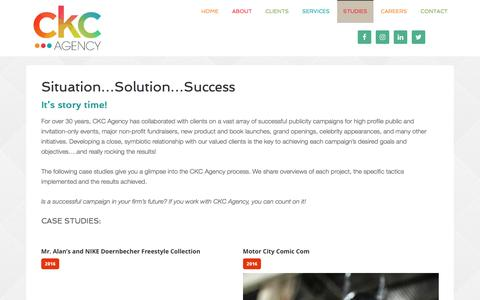 Screenshot of Case Studies Page ckcagency.com - Situation...Solution...Success - CKC agency - captured May 12, 2017