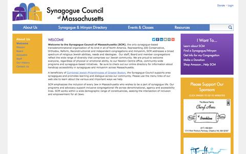 Screenshot of About Page synagoguecouncil.org - Welcome | Synagogue Council of Massachusetts - captured Dec. 1, 2016