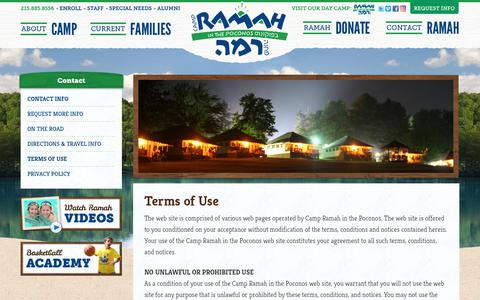 Screenshot of Terms Page ramahpoconos.org - Terms of Use | Camp Ramah in the Poconos - captured Sept. 26, 2018