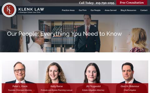 Screenshot of Team Page klenklaw.com - Our People | Klenk Law - captured Sept. 27, 2018