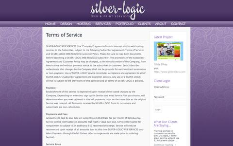 Screenshot of Terms Page silver-logic.com - Terms of Service | Silver-Logic Web & Print Services > Website Hosting, Website Design and Website Management Services > Located in Oregon (503) 213-3551 - captured Oct. 26, 2014