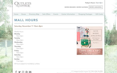 Screenshot of Hours Page outletsatconroe.com - Outlets at Conroe ::: Mall Hours - captured Nov. 12, 2017