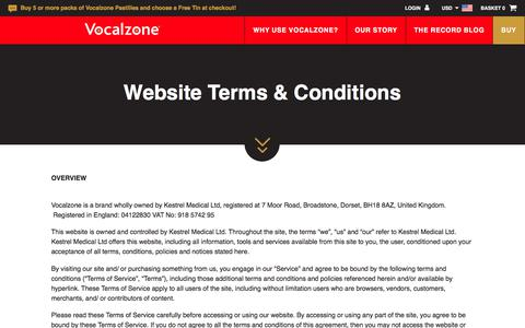 Screenshot of Terms Page vocalzone.com - Terms & Conditions - Vocalzone - captured Oct. 17, 2017