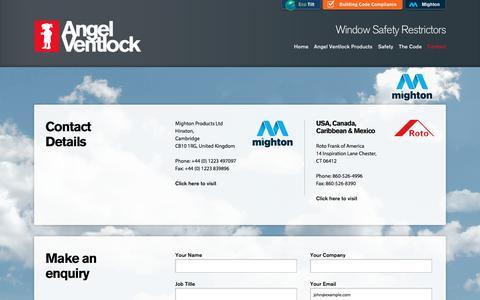 Screenshot of Contact Page angel-ventlock.com - Contact Us | Make An Enquiry | Angel Ventlock - captured Jan. 14, 2017