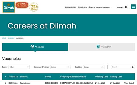 Screenshot of Jobs Page dilmahtea.com - Dilmah Careers - Job Vacancies at Dilmah Ceylon Tea Company PLC - captured Oct. 9, 2018