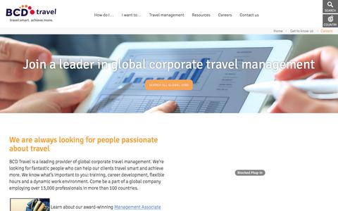 Screenshot of Jobs Page bcdtravel.com - BCD Travel Careers - captured May 20, 2018