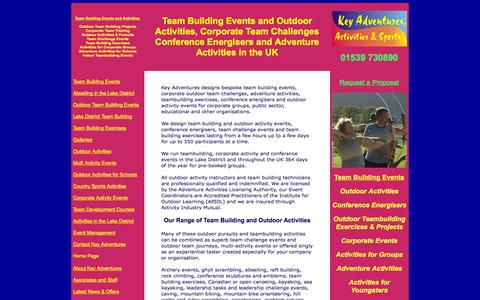 Screenshot of Home Page keyadventures.co.uk - Team Building Events and Outdoor Activities in the UK - captured Oct. 6, 2014