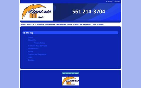 Screenshot of Site Map Page electricbillinc.com - Electric Bill, Inc. - Professional Electrical Services - Site Map - captured July 17, 2018