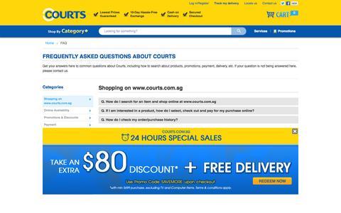 Screenshot of FAQ Page courts.com.sg - Help - captured Sept. 19, 2014