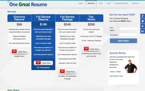 Screenshot of Services Page onegreatresume.com - Services   Resume Cover Letter Writing Job Interview Coaching Strategy Training Milwaukee - captured Oct. 26, 2014