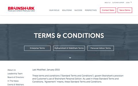 Screenshot of Support Page brainshark.com - Personal Edition Terms and Conditions | Brainshark - captured Nov. 9, 2016