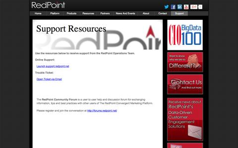 Screenshot of Support Page redpoint.net - Support - captured Sept. 17, 2014
