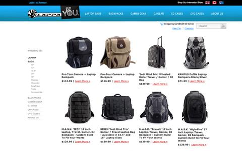 Screenshot of Products Page slappa.com - Laptop Backpacks, Backpacks, Messenger Bags, laptop bags and Laptop Cases by SLAPPA - captured Sept. 23, 2014