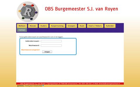 Screenshot of Login Page vanroyenschool.nl - OBS Burg. S.J. van Royen » Contact » Login - captured May 28, 2016