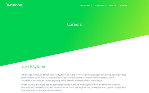 Screenshot of Jobs Page payfone.com - Careers | Payfone - captured Jan. 7, 2017