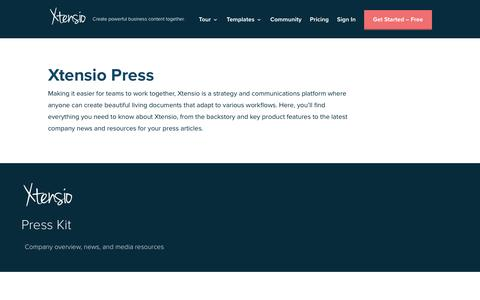 Screenshot of Press Page xtensio.com - Press Kit For Your Business   Xtensio - captured July 23, 2019