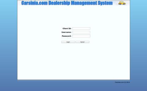 Screenshot of Login Page carsinia.com - Carsinia.com - captured Sept. 30, 2014