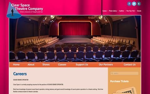 Screenshot of Jobs Page clearspacetheatre.org - Careers - Clear Space Theatre - captured Jan. 28, 2016