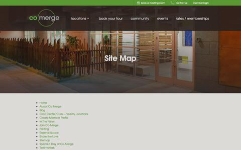 Screenshot of Site Map Page co-merge.com - Site Map, Shared Office Space - captured Nov. 2, 2014
