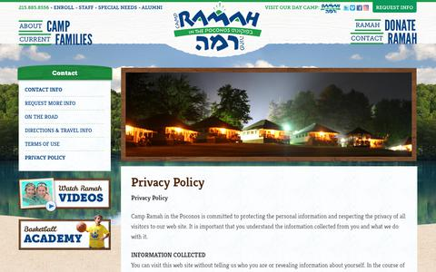 Screenshot of Privacy Page ramahpoconos.org - Privacy Policy | Camp Ramah in the Poconos - captured Sept. 26, 2018