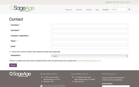 Screenshot of Contact Page sageagestrategies.com - Contact | Sage Age Strategies - captured June 23, 2017