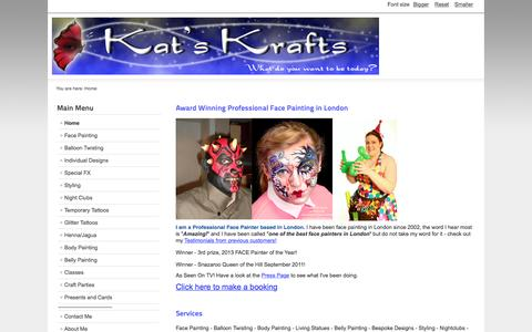 Screenshot of Home Page kat-kraft.co.uk - Award Winning Professional Face Painting in London - captured Sept. 6, 2015