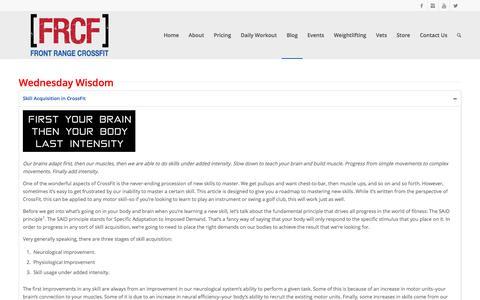 Screenshot of Blog frontrangecrossfit.com - Wednesday Wisdom   Front Range CrossFit - captured Feb. 12, 2018