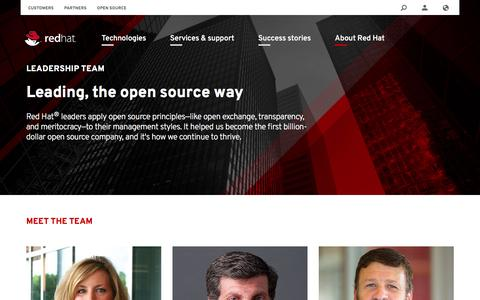 Screenshot of Team Page redhat.com - Our leadership team | Red Hat - captured April 6, 2016