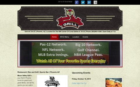Screenshot of Home Page moonvalleygrill.com - Phoenix Restaurant | Bar and Grill | Sports Bar - captured Oct. 10, 2014