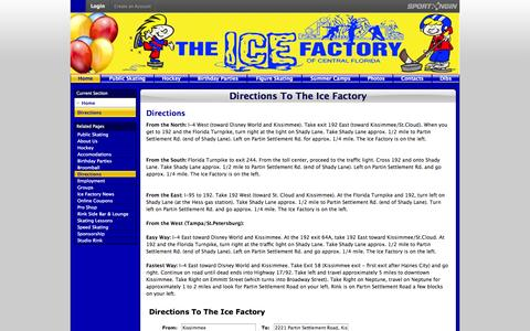 Screenshot of Maps & Directions Page icefactory.com - Directions To The Ice Factory - captured Oct. 4, 2014