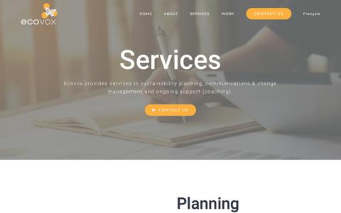 Screenshot of Services Page ecovox.ca - SERVICES – Ecovox - captured July 23, 2018