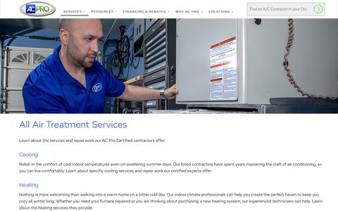 Screenshot of Services Page acpro.com - Air Conditioning, Heating, & Treatment Services   AC Pro - captured Dec. 4, 2015