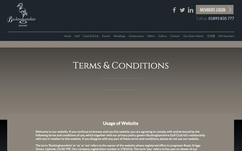 Screenshot of Terms Page buckinghamshiregc.com - Terms & Conditions - Buckinghamshire Golf Club - captured Oct. 7, 2018