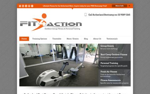 Screenshot of Home Page fit4action.com.au - Boot Camp Sutherland Shire   Fit4Action Outdoor Group Fitness   Home - captured Oct. 6, 2014