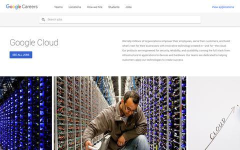 Screenshot of Jobs Page google.com - Google Cloud - Google Careers - captured July 7, 2018