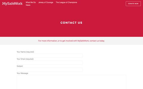 Screenshot of Contact Page mysafework.com - Contact Us | MySafeWork - captured Dec. 3, 2016