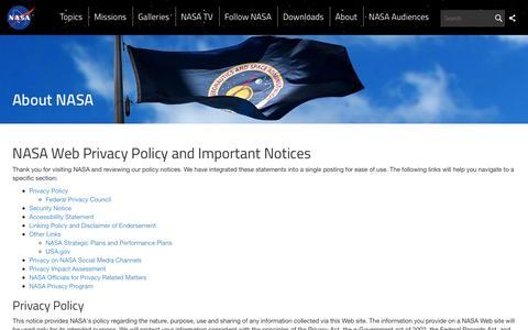 Screenshot of Privacy Page nasa.gov - NASA Web Privacy Policy and Important Notices  | NASA - captured Jan. 27, 2017