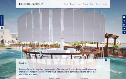 Screenshot of Services Page bluehausgroup.com - Bluehaus Group |  			Interior Design & Architectural Consultancy | Dubai, UAE - captured Feb. 7, 2016