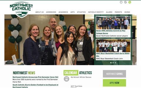 Screenshot of Home Page northwestcatholic.org - Northwest Catholic - captured Feb. 16, 2016