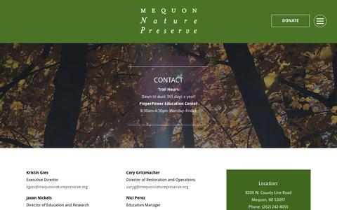 Screenshot of Contact Page mequonnaturepreserve.org - Contact | Mequon Nature Preserve | A Natural Habitat for Plants & Wildlife - captured Nov. 6, 2018