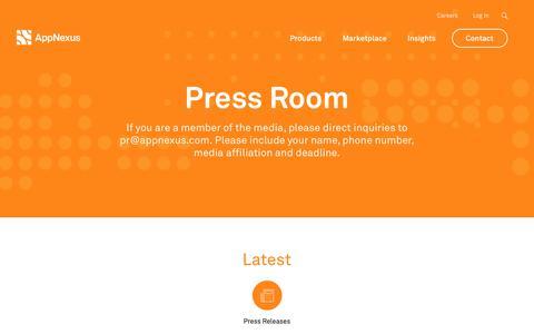 Screenshot of Press Page appnexus.com - Press Room | AppNexus - captured June 15, 2018