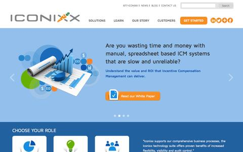 Screenshot of Home Page iconixx.com - Compensation Management Software and Solutions | Iconixx - captured Sept. 16, 2014