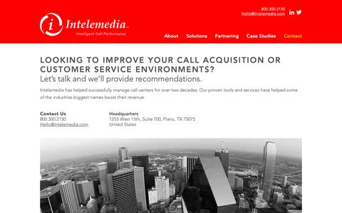 Screenshot of Contact Page intelemedia.com - Intelemedia Call Performance Solutions: Contact - captured Oct. 12, 2018