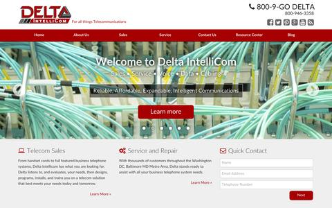 Screenshot of Home Page deltaintellicom.com - Business Phone Systems & Voice Solutions - Baltimore, Annapolis, DC | Delta Intellicom - captured Oct. 5, 2014