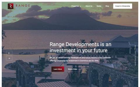 Screenshot of Home Page rangedevelopments.com - Range Developments is a leading Citizenship by Investment developer in the Caribbean - captured Oct. 20, 2018