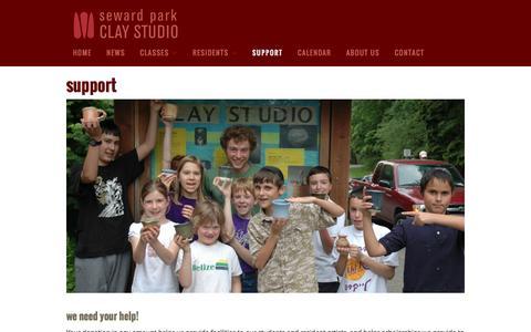 Screenshot of Support Page sewardparkart.org - Support - Seward Park Clay Studio - captured Feb. 16, 2016