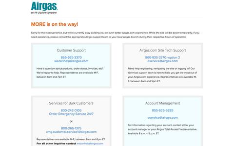 Screenshot of Home Page airgas.com - Airgas - MORE is on the way! - captured Jan. 14, 2018